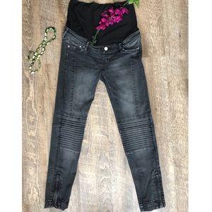 H&M black motocross maternity skinny jeans